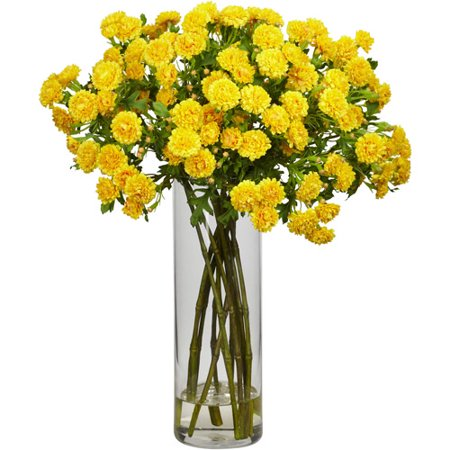 - Nearly Natural Japanese Silk Flower Arrangement, Yellow