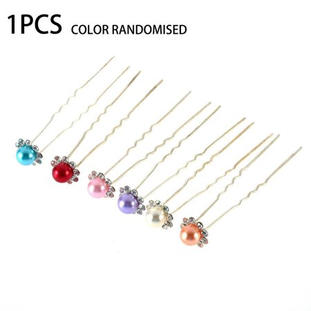 OUTAD 1 pcs Simulated-Pearl Crystal Flowers Hair Clip Hairpin Jewelry Acessories - image 1 of 13