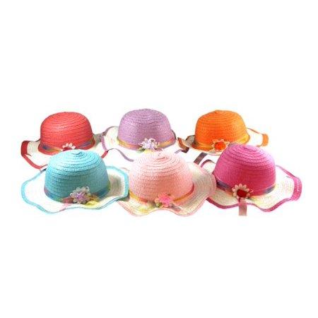 Girls Tea Party Hat Assortment - 4 Children Sun Hats - Assorted - Hat Assortment