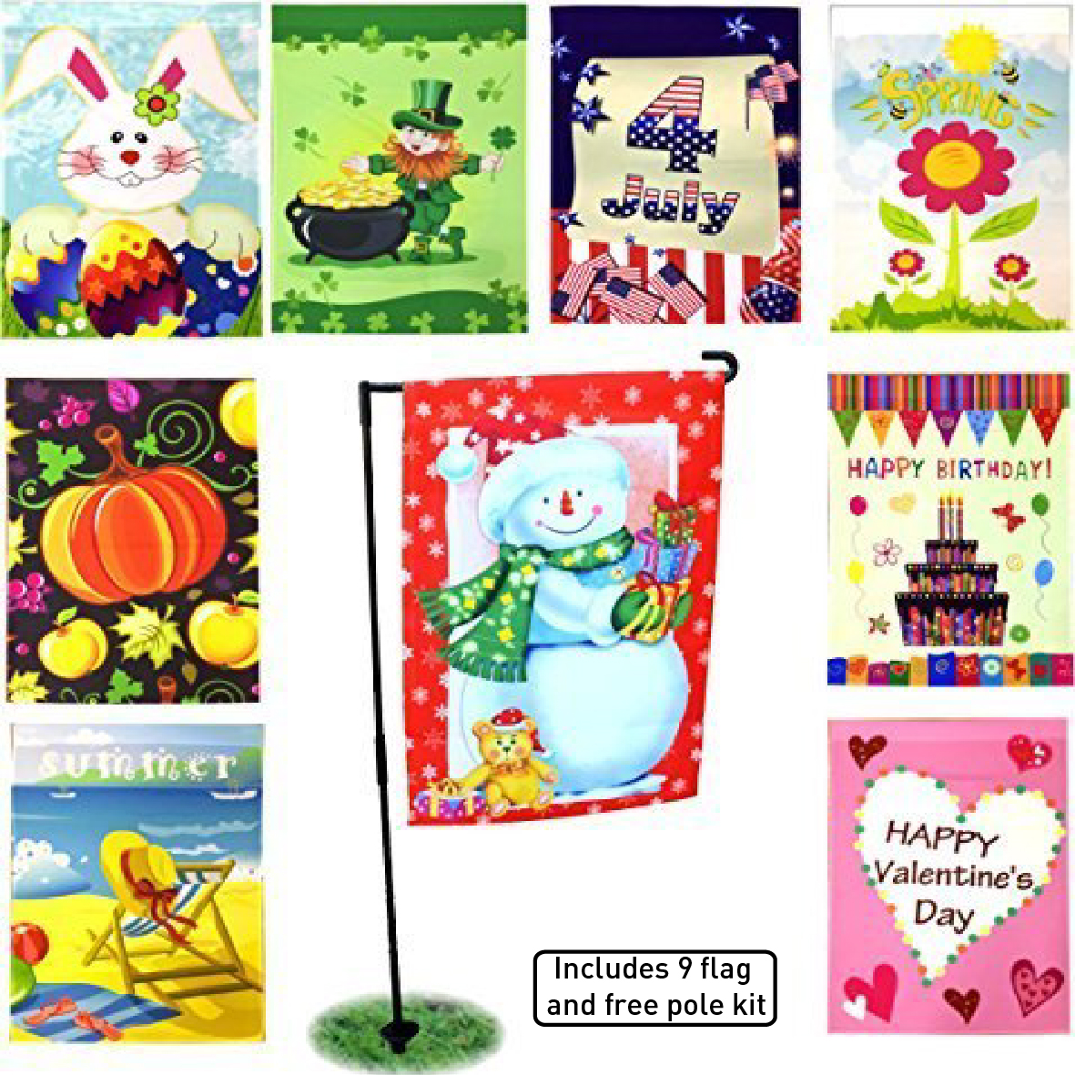 Superbe Seasonal Holiday Garden Flags Set Of 9   12  X 18