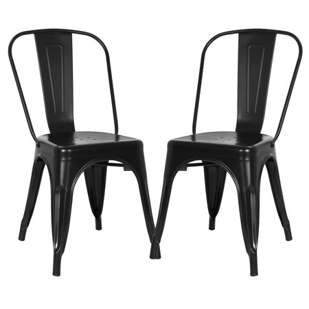 Metro Side Chair 2 Chairs - Poly and Bark Trattoria Side Chair in Black (Set of 2)