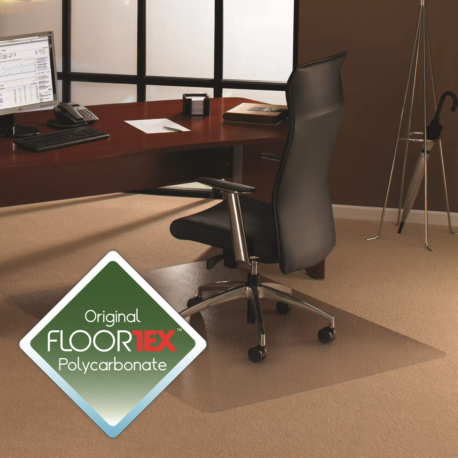 "E-joy Chair Mat, Polycarbonate, For Plush Pile Carpets over 1/2"", Rectangular, 48"" x 60"""