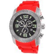 10067-01-Rds Commander Chronograph Red Silicone Black Dial Watch