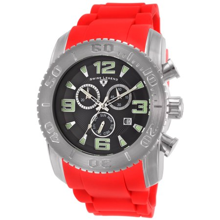 Swiss Legend 10067-01-Rds Commander Chronograph Red Silicone Black Dial Watch