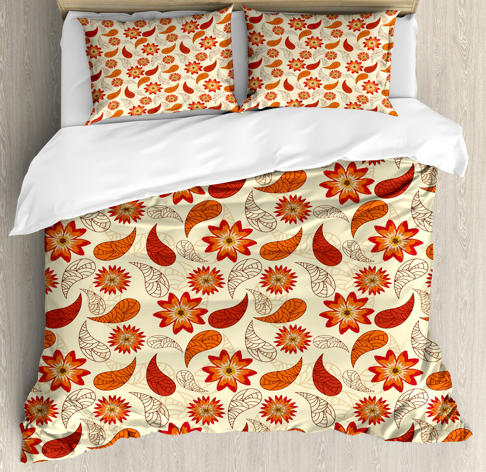 Orange King Size Duvet Cover Set, Red Poppy Flowers in Retro Style and Leaves Artistic Flourish Paisley Pattern, Decorative 3 Piece Bedding Set with 2 Pillow Shams, Orange Red Peach, by Ambesonne