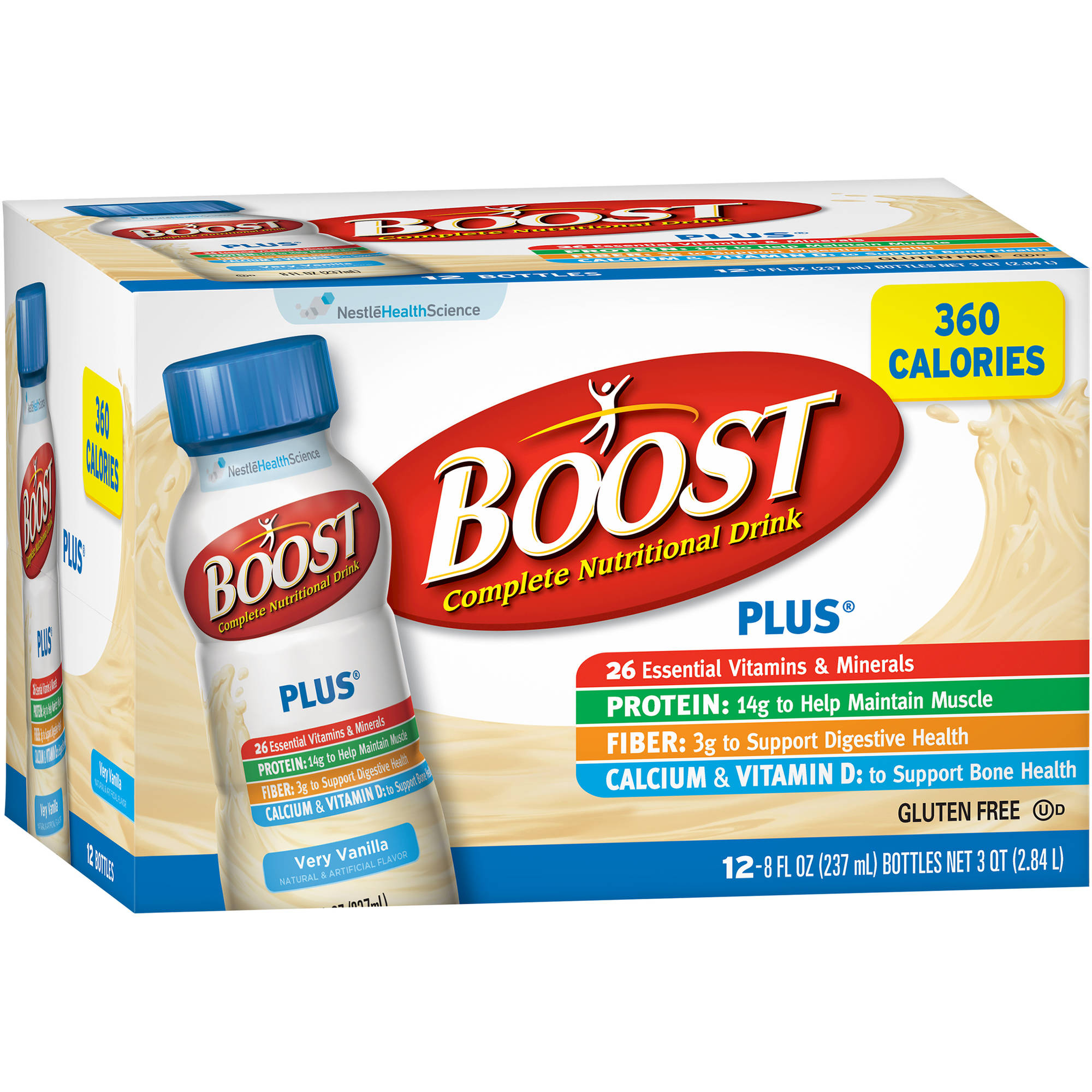 Boost Plus Very Vanilla Complete Nutritional Drink, 8 fl oz, 12 count