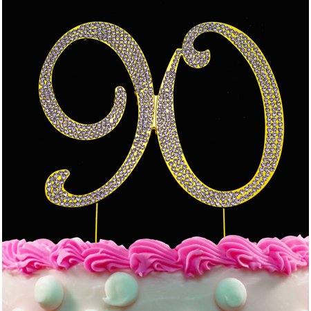 90th Birthday Cake Toppers Gold Bling Cake Topper 90 Birthday Decorations