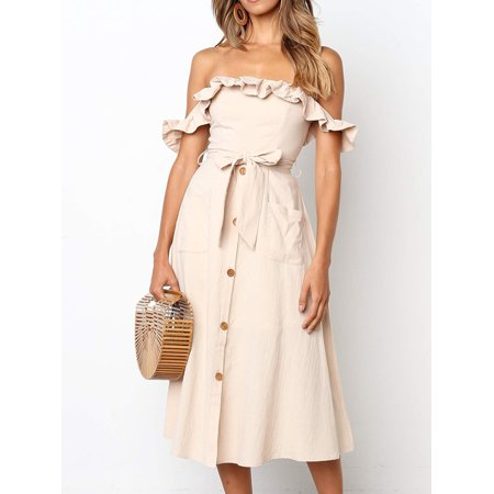 Jersey Tie Waist Dress - Women's Sleeveless Off Shoulder Ruffles Long Dress Solid Tie Waist Single Breasted Casual Fashion Maxi Dress with Pocket
