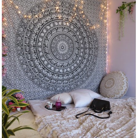 Black and White Indian Wall Hanging Hippie Tapestry Boho Mandala Tapestries Decorative College Dorm Bohemian Hippie Queen Size Bedspread Beach Throw Picnic Blanket Online