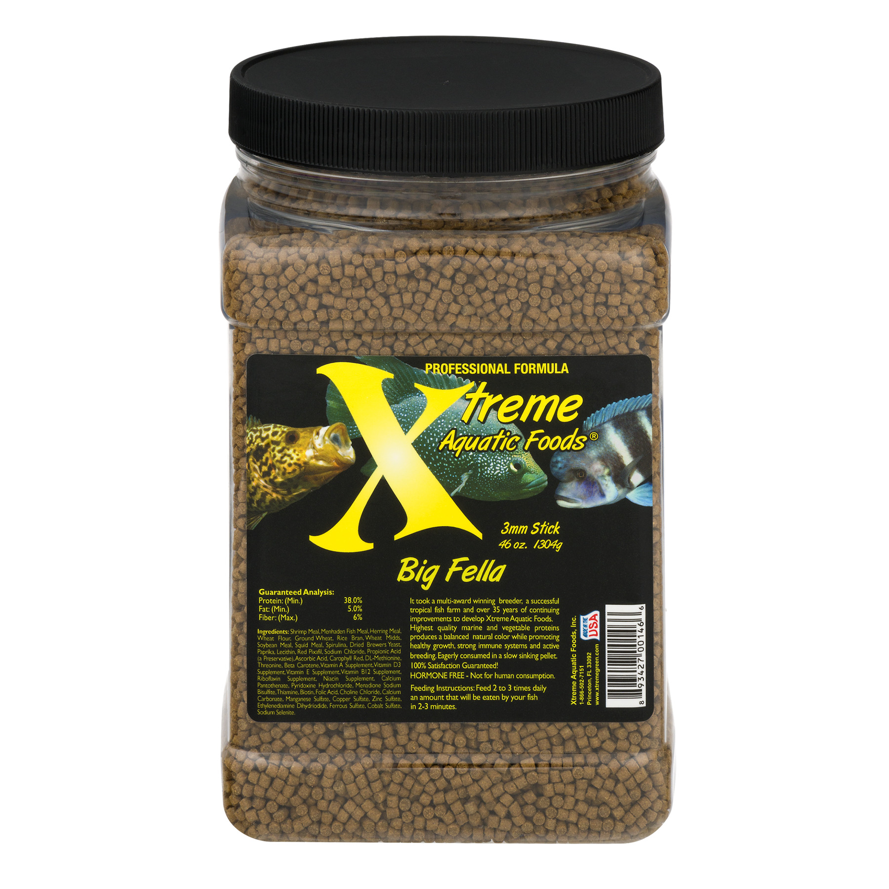 Xtreme Aquatic Big Fella Fish Food Pellets, 40 oz