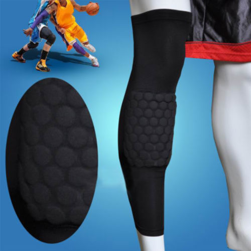 AGPtek 1 Piece Strengthen Kneepad Honeycomb Pad Basketball Leg Knee Long Sleeve Protective Pad Black XL size