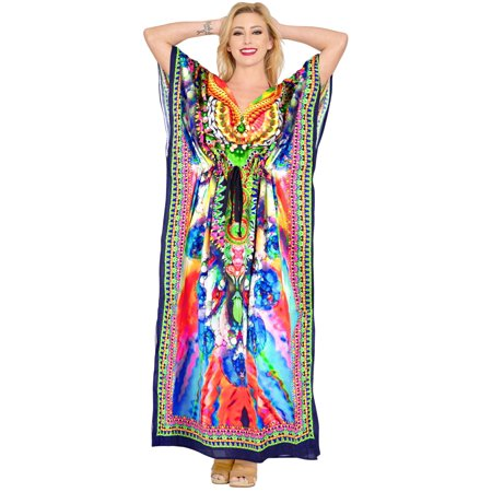 Womens Boho Beach 3D Ladies Summer Kaftan Casual Wear Maxi Caftan For Womens Free (Best Shoes To Wear With Maxi Dress)
