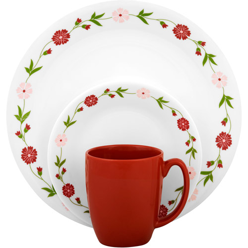 Corelle Livingware Spring Pink 16-Piece Dinnerware Set