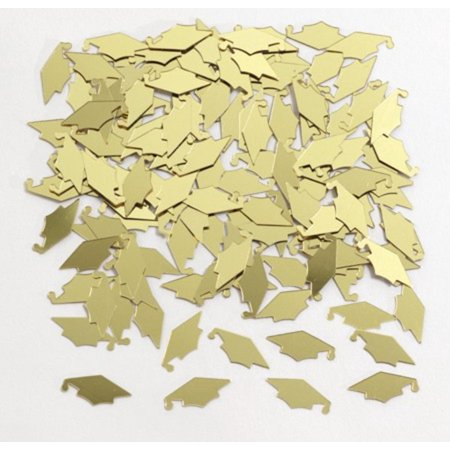 Club Pack of 12 Yellow Gold Mortarboard Cap Hat Shaped Graduation Day Party Confetti Bags 0.5 oz. (Yellow Graduation Cap)