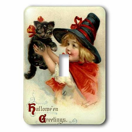 3dRose Halloween Greetings - cat, cute, girl, costume, halloween, trick or treat, witch, Single Toggle - Cute Halloween Treats