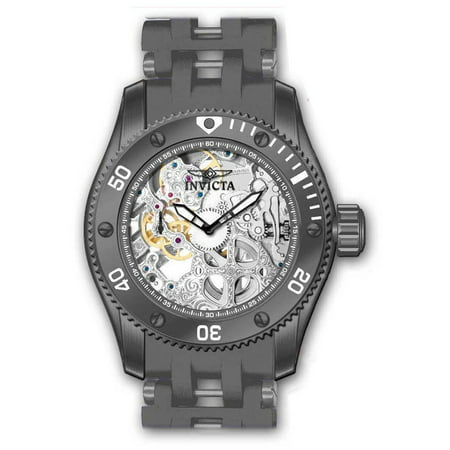 Invicta Men's 10355 Sea Spider Mechanical Gray Skeleton Dial Rubber & Steel Bracelet Watch Invicta Rubber Bracelets