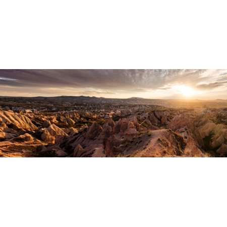 View of rock formations from Aktepe Hill at sunset over Red Valley Goreme National Park Cappadocia Central Anatolia Region Turkey Canvas Art - Panoramic Images (6 x 15)