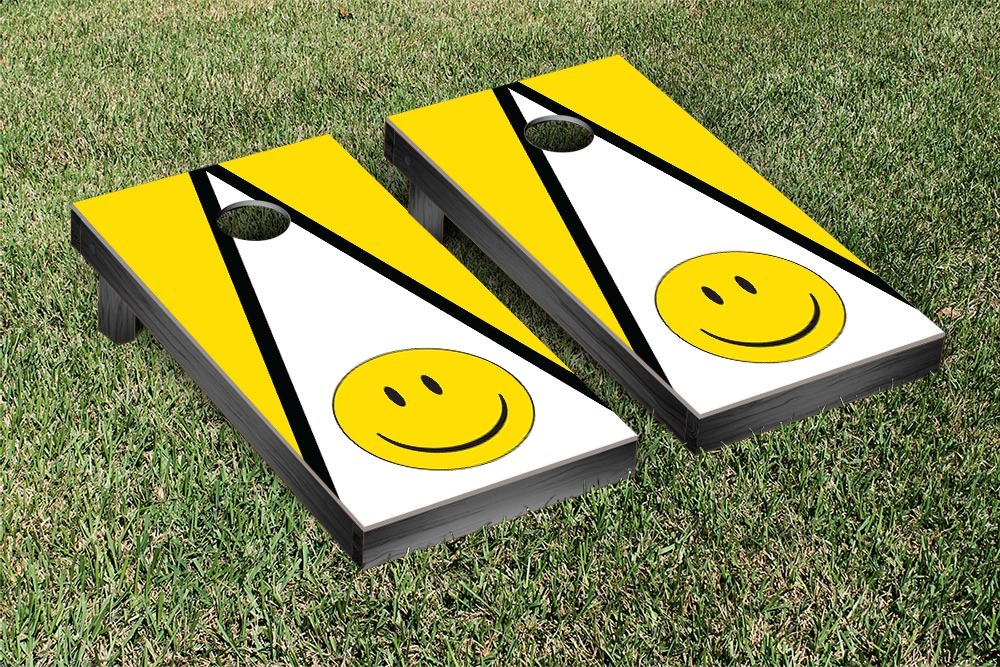 Smiley Face Triangle Cornhole Beanbag Toss Game by Victory Tailgate