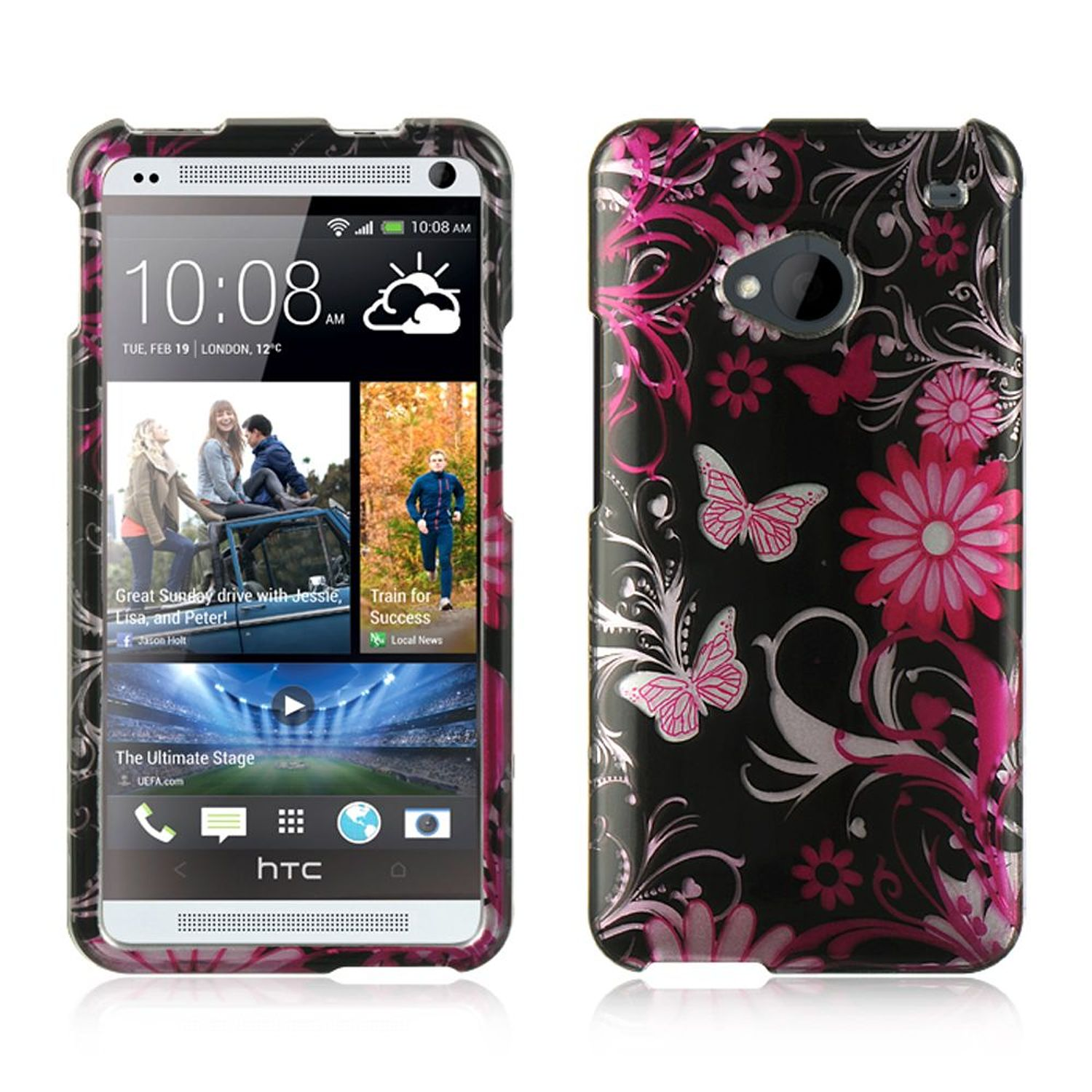 Insten Hard Rubber Case For HTC One M7 - Black/Pink