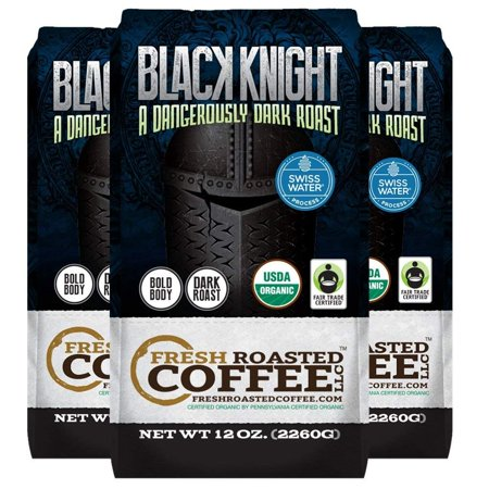 Black Knight Decaf Organic Fair Trade Coffee 12 Oz Whole Bean Bags Water Fresh Roasted Llc Pack Of 3