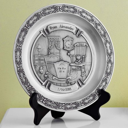 Personalized Pewter Baby Plate - Personalized Baby Scrubs
