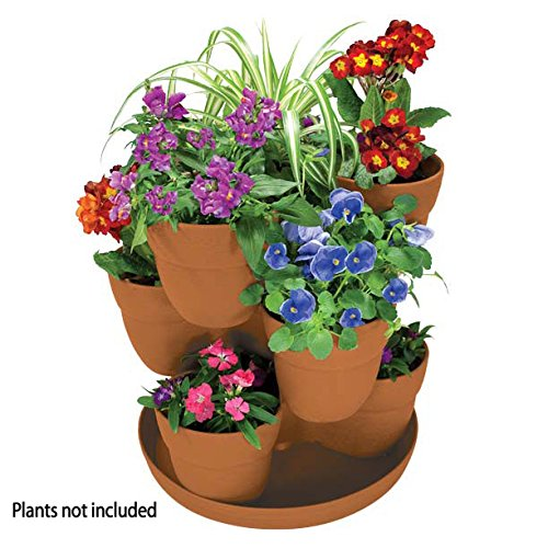 EMSCO Bloomers Stackable Flower Tower Planter ? Holds up to 9 Plants ? Great both Indoors and Outdoors ? Terra Cotta, By Emsco Group