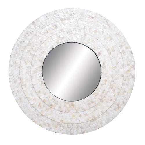Woodland Imports Inlay Circular Wall Mirror