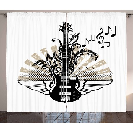 Guitar Curtains 2 Panels Set, Geometrical Elements Stripes Swirls Dots Lines and Musical Notes Rock and Roll, Window Drapes for Living Room Bedroom, 108W X 90L Inches, Tan Black White, - Room Roll