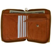 Genuine leather men's ziparound credit card coin wallet Tan color