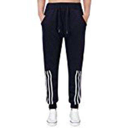 Teen Boys Sport Light Drawstring Waist Striped Sweatpants Jogger Pants (L,