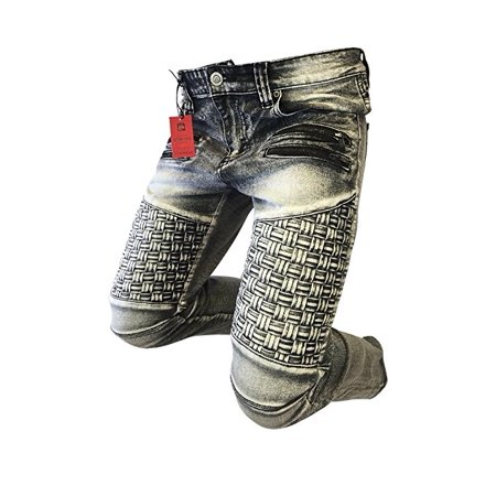 f6c3dd00 Victorious - Men's Victorious Jeans Skinny Leg Ice Black Wash Weaved Biker  Zippers Patch DL1050 - Walmart.com