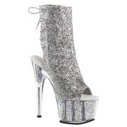 Womens Silver Glitter Heels Open Toe Booties Platform Ankle Boots 7 Inch Heels
