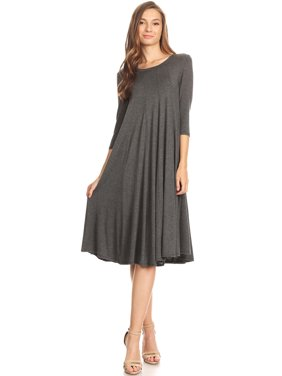 2afbdb4426fd Product Image Women s Trendy Style 3 4 Sleeves Solid Midi Dress