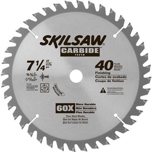 "Skil 7-1/4"" 40-Tooth Carbide Tipped Circular Saw Blade, 75740W"