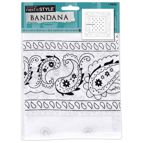 Single Bandana, White Paisley