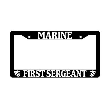 Marine First Sergeant Black Plastic License Plate