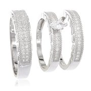 Real 925 Sterling Silver Womens & Mens Trio Engagement Rings Pear Shaped with Cz Stones (Womens Size 7 with Mens Size 10)