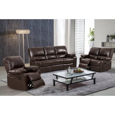 Evelyn 3 pc Dark Brown Leather Gel Reclining Sofa set with Rocking Chair ()
