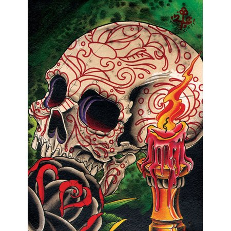 Skull and Candle by 2 Cents Skull Day of the Dead Tattoo Design Art Poster - Day Of The Dead Tattoo Designs