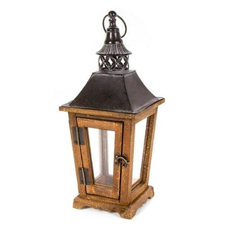 Lantern Hanger - Darice Rustic Wooden Lantern with Hanger: 6.3 x 15.4 inches