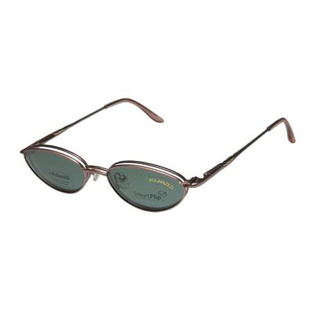New Smartflip 424 Mens/Womens Cat Eye Full-Rim Rose Cat Eye With Polarized Clip-on Lenses Frame Demo Lenses 49-16-135 Sunglass Lens Clip-Ons Flexible Hinges (Polarized Spectacles)