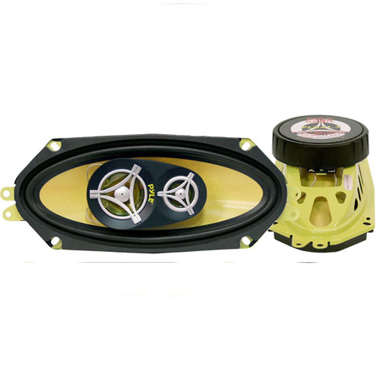 "PYLE PLG413 - 4""x 10"" Inch Three Way Sound Speaker System - Yellow Poly Cone Pro Loud Range Audio 300 Watt Peak Power Per Pair w/ 4 Ohm Impedance"