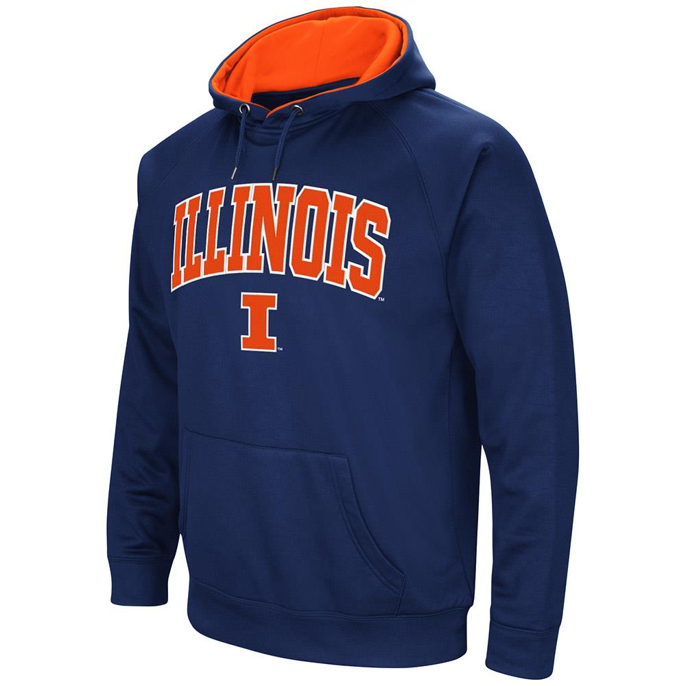 Mens Illinois Fighting Illini Fleece Pull-over Hoodie by Colosseum