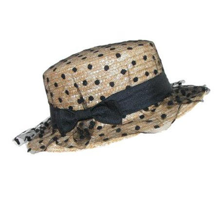 Womens Straw Boater Hat with Polka Dot Tulle, - Boater Hats