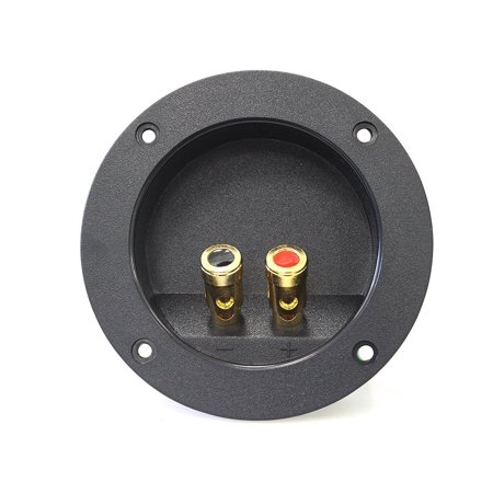 Absolute USA RST-450 4-Inch Round Gold Push Spring Loaded Jacks Double Binding Post Speaker Box Terminal Cup