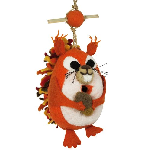 Global Crafts Nutty Squirrel Felt 9 in x 5 in x 3 in Birdhouse