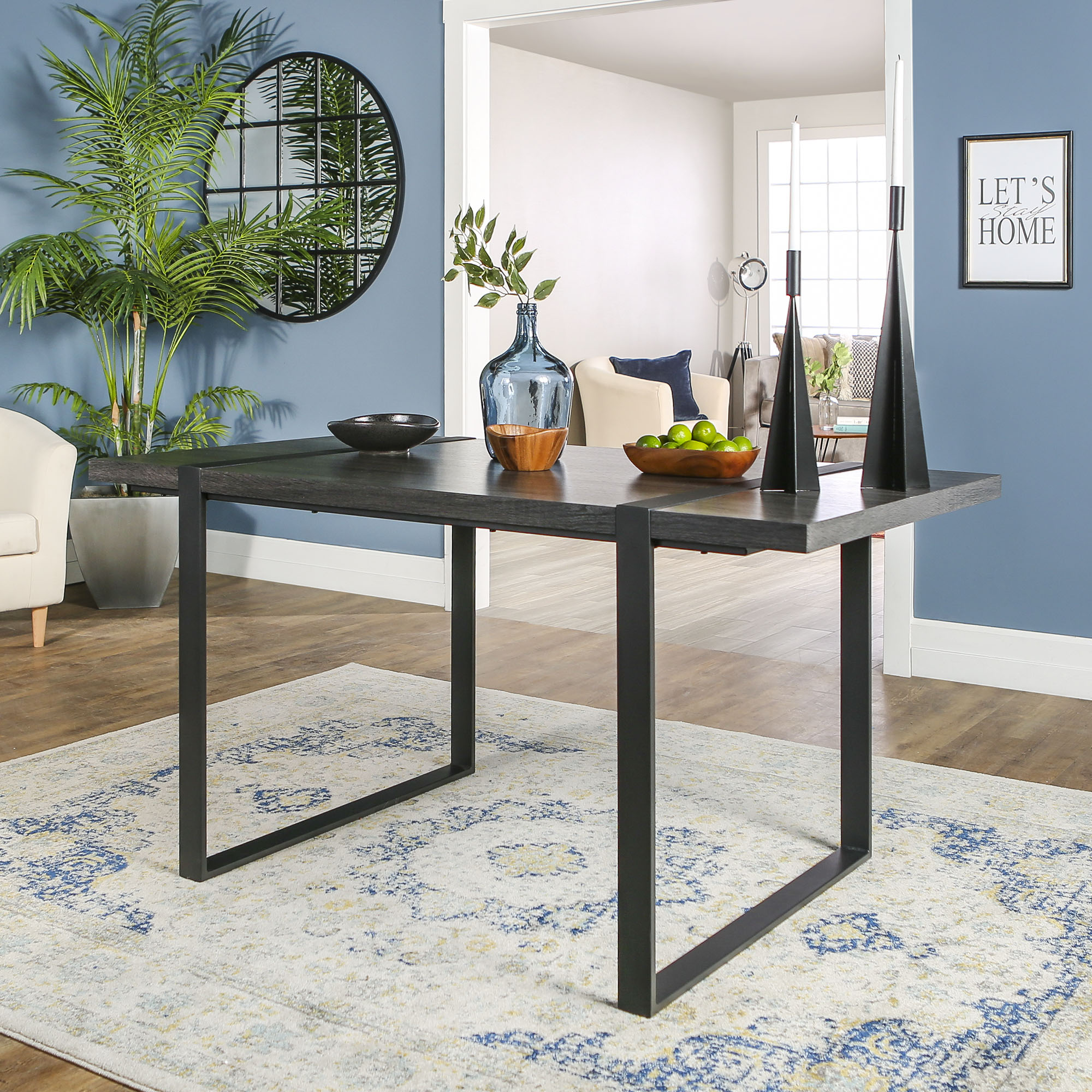 Manor Park Industrial Metal and Wood Dining Table - Charcoal