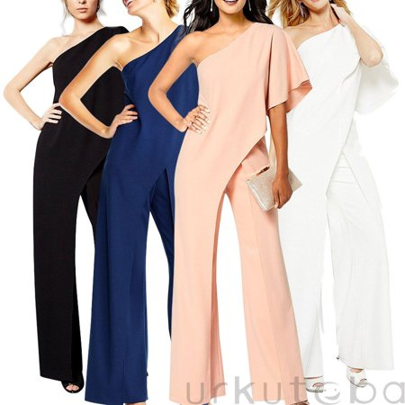Women Off Shoulder Bodycon Jumpsuit Casual Sleeveless Trouser Club Playsuit