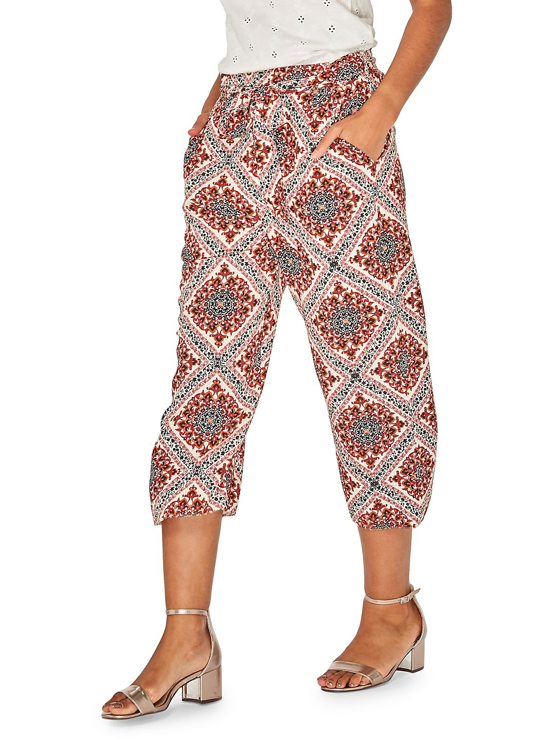 Tile-Print Cropped Trousers