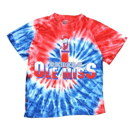 NCAA Youth Mississippi Ole Miss Rebels Retro Tie Dye Swirl Tee, Blue